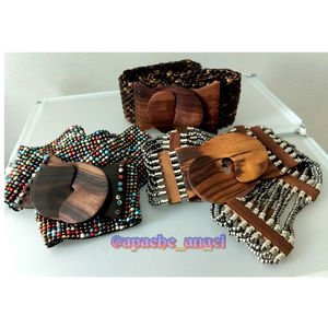 3 Wood Stretch Belts Lot Beaded / Metal / Coconut